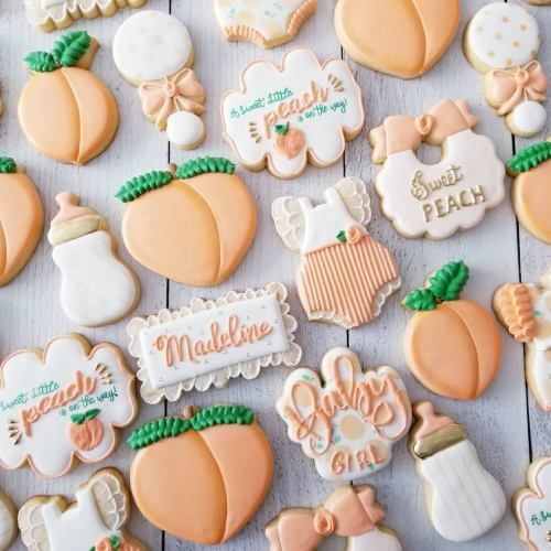 Peach baby shower cookies girl