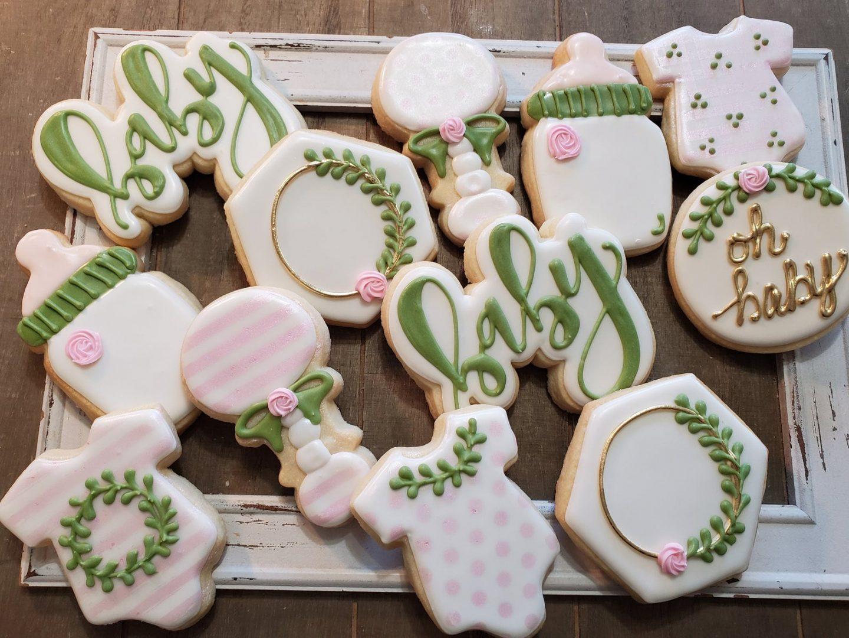 Greenery Baby Shower Cookies