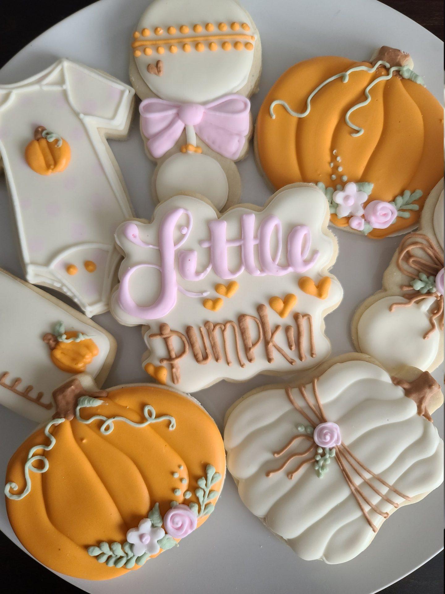 Fall Themed Pumpkin Baby Shower Cookies