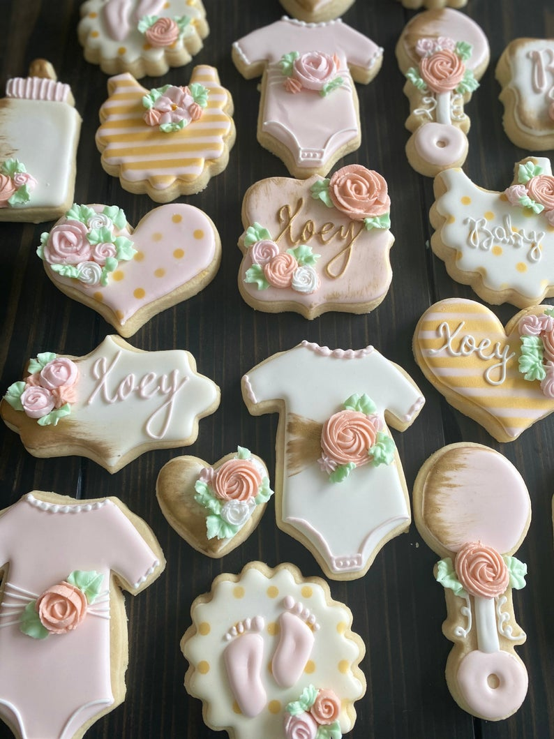 Pink rose baby shower cookies for girl