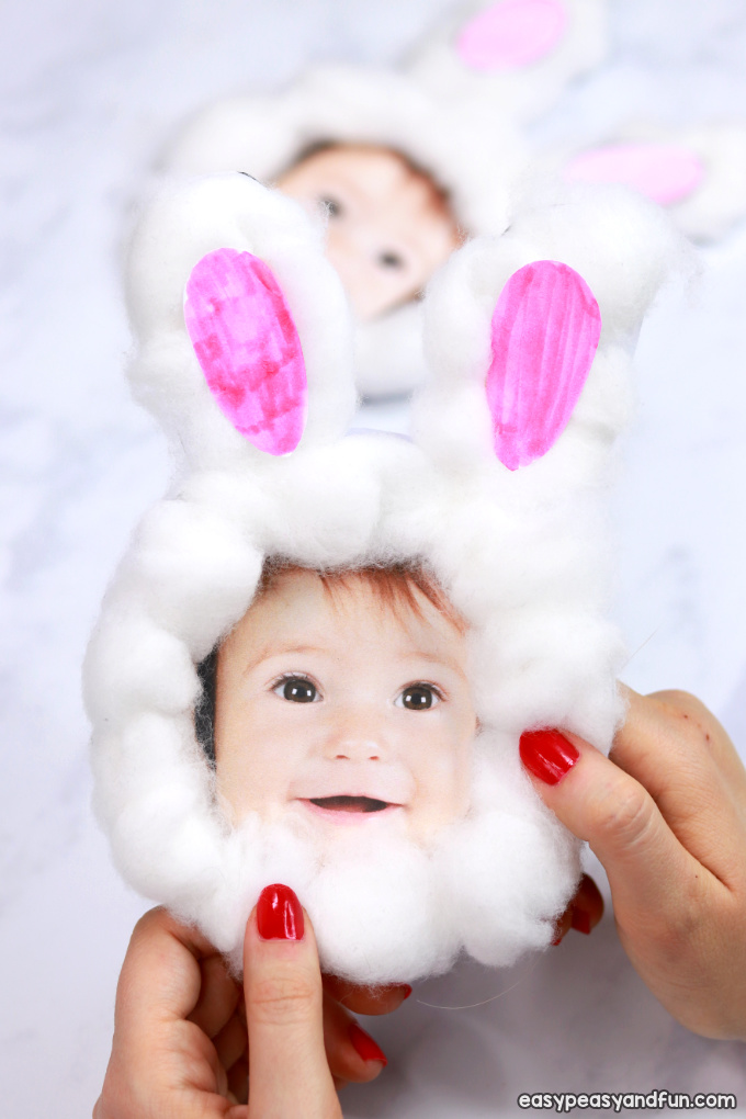 Cotton Ball Bunny Craft - DIY Easter Card