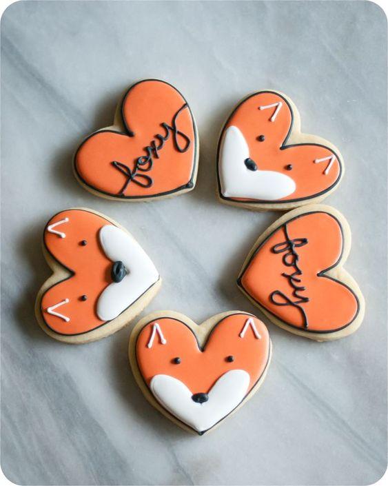 Heart shaped fox sugar cookies