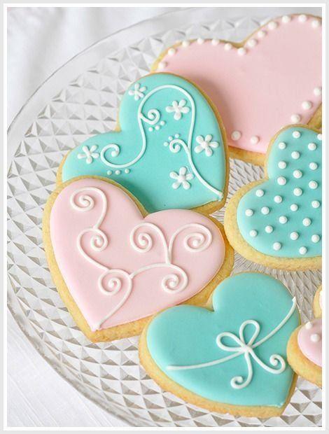 Cute valentine's day cookies, pastel heart shaped sugar cookies