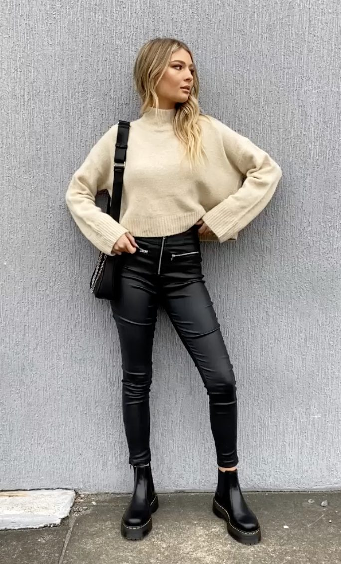 Casual everyday outfits with leather effect jeans and sweater