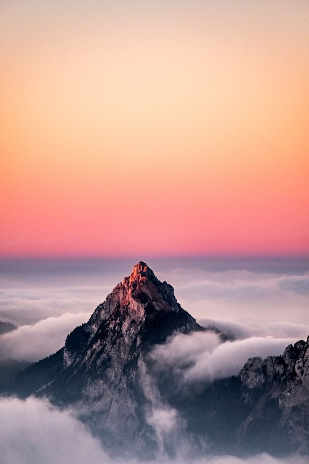 Mountain backgrounds for iPhone with pink sunset