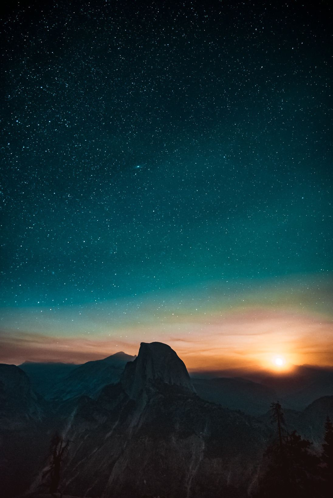 Mountain wallpaper with night sky