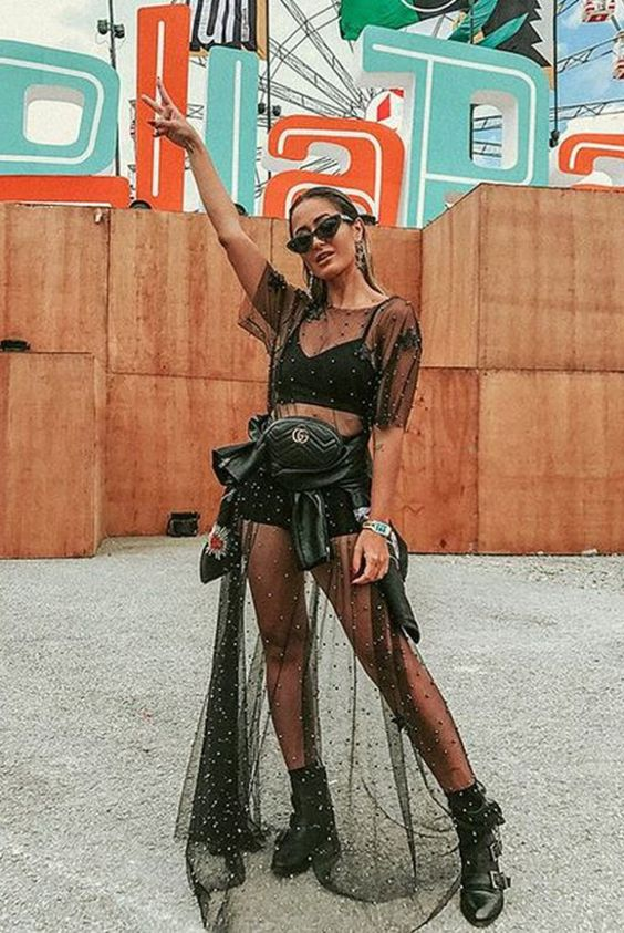 All black festival outfit with mesh material