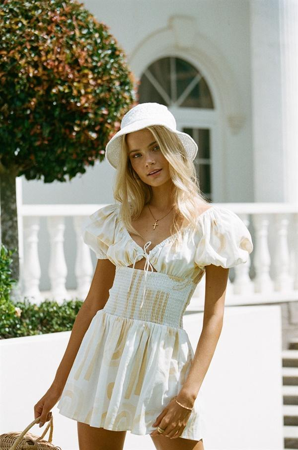Cute summer outfit with bucket hat