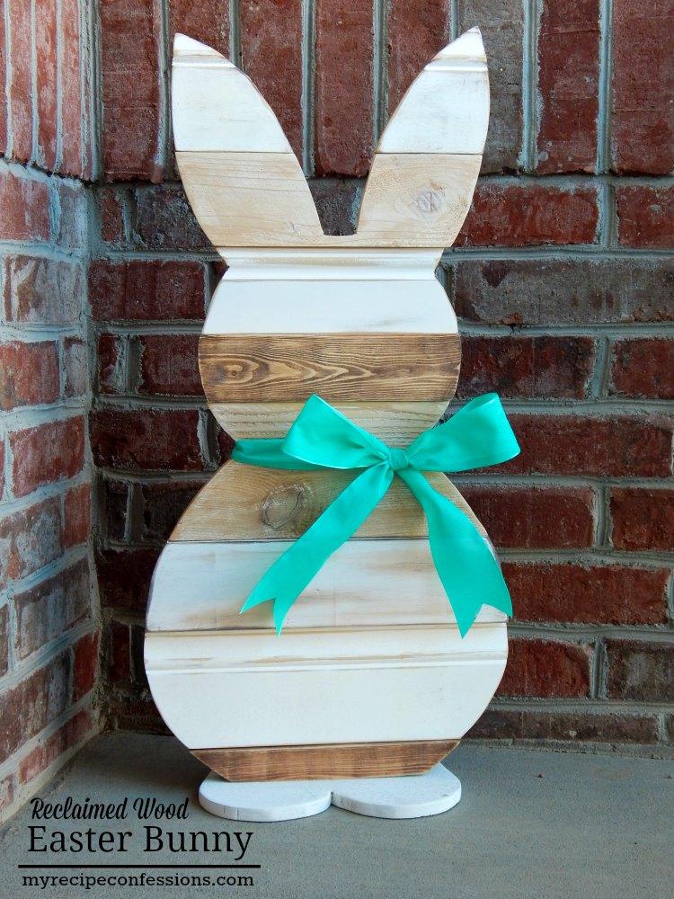 Reclaimed Wood Farmhouse Easter Bunny Decor