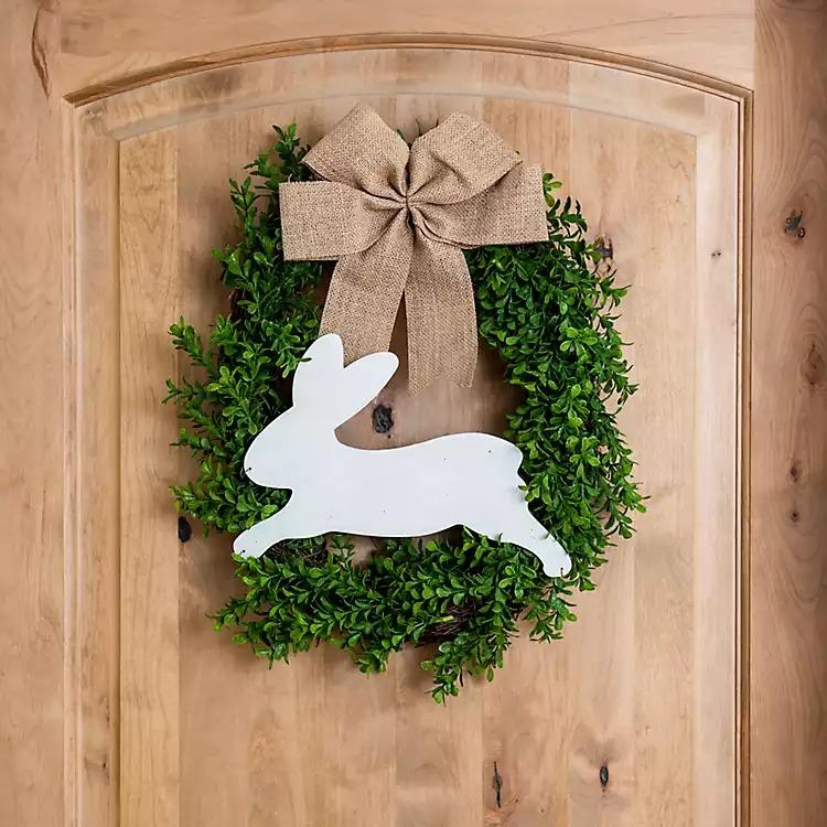Boxwood and Bunny Wreath