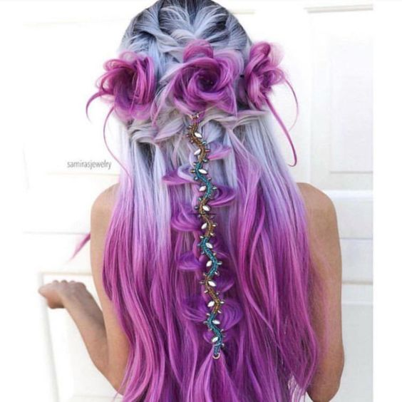 Pink and purple festival hair ideas