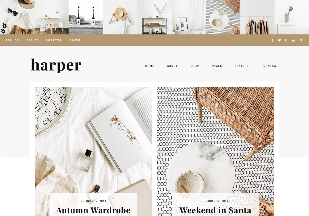 The best feminine WordPress themes for bloggers: Harper by 17th Avenue