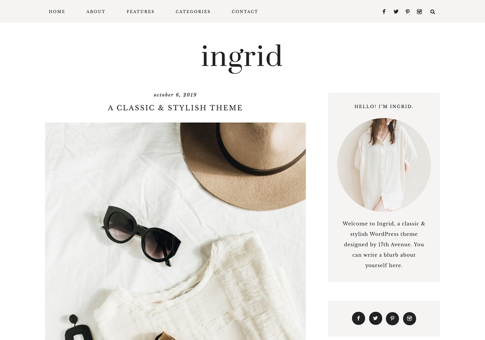 The best feminine WordPress themes for bloggers: Ingrid by 17th Avenue