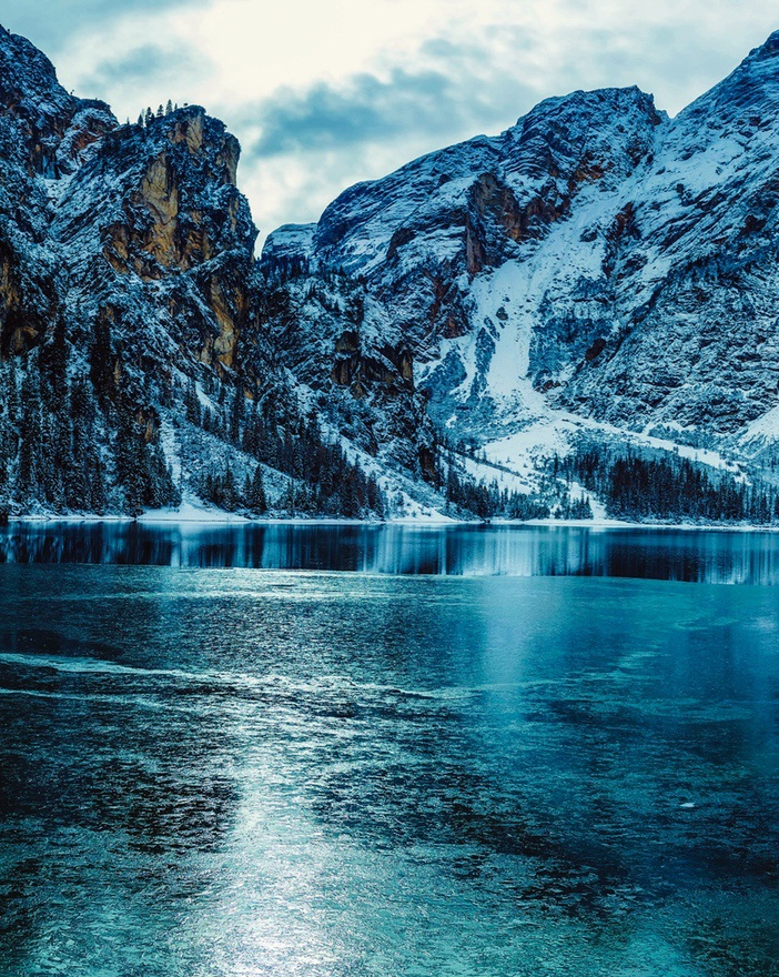 Blue mountain wallpaper with snow during winter - lake wallpaper