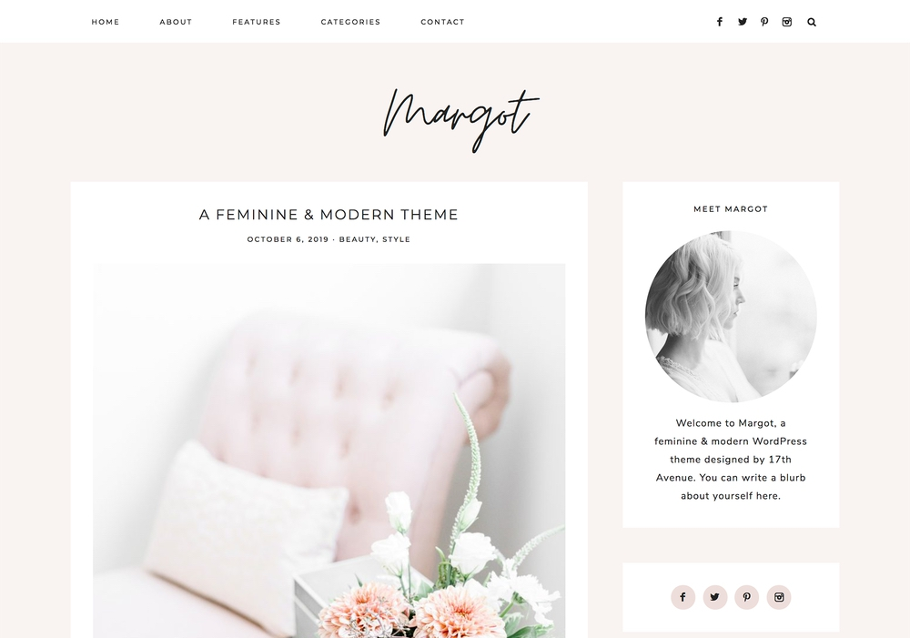 The best feminine WordPress themes for bloggers: Margot by 17th Avenue