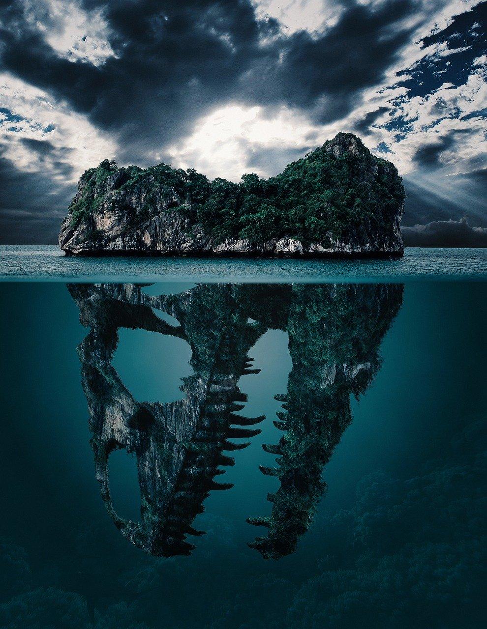 Beautiful nature wallpapers for iPhone underwater - dinosaur island wallpaper