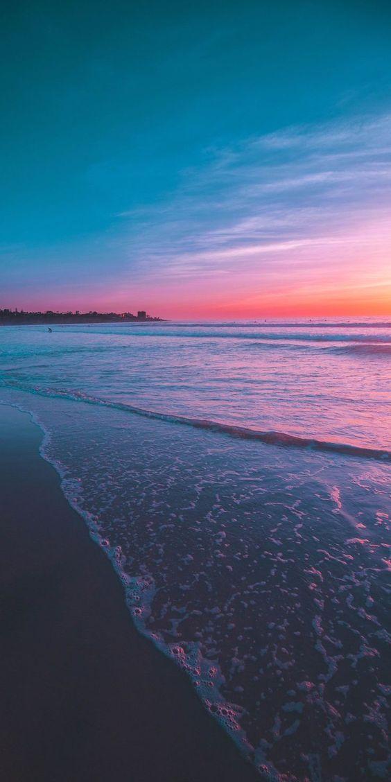 Blue and pink sunset wallpaper - sunset beach wallpaper