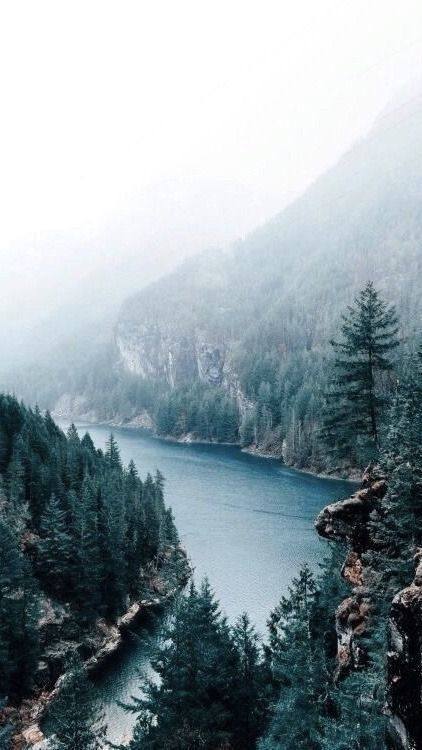 Beautiful nature wallpapers for iPhone - lake wallpaper with forest and mountain
