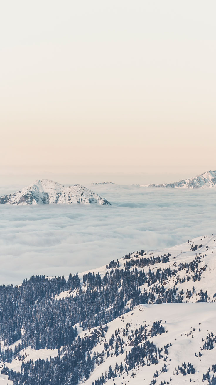 Beautiful nature wallpapers for iPhone with mountains and snow