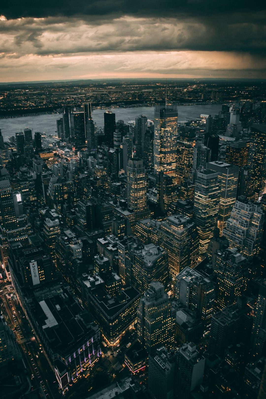 Night time NYC from above