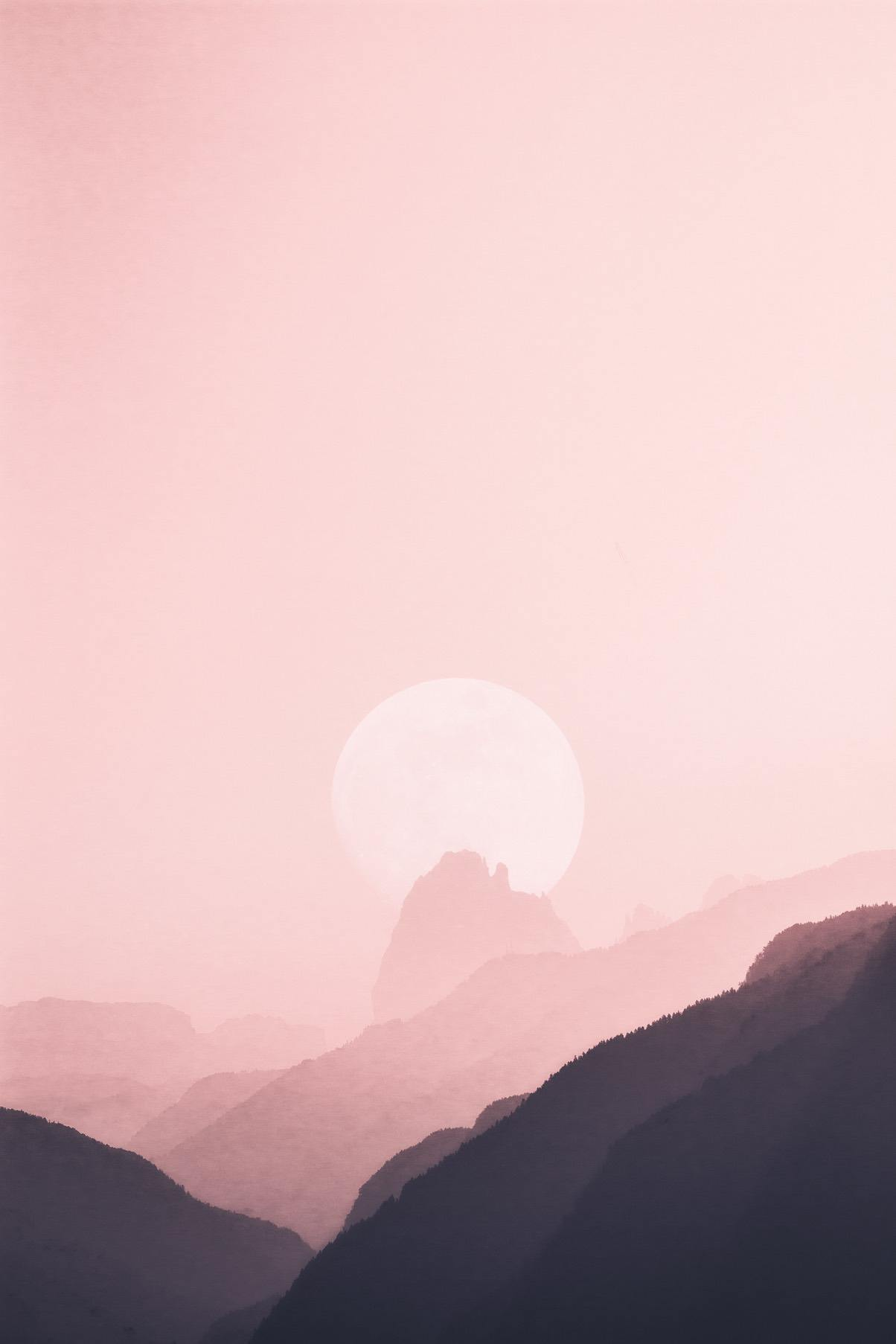 Pink sky and mountains iPhone wallpaper