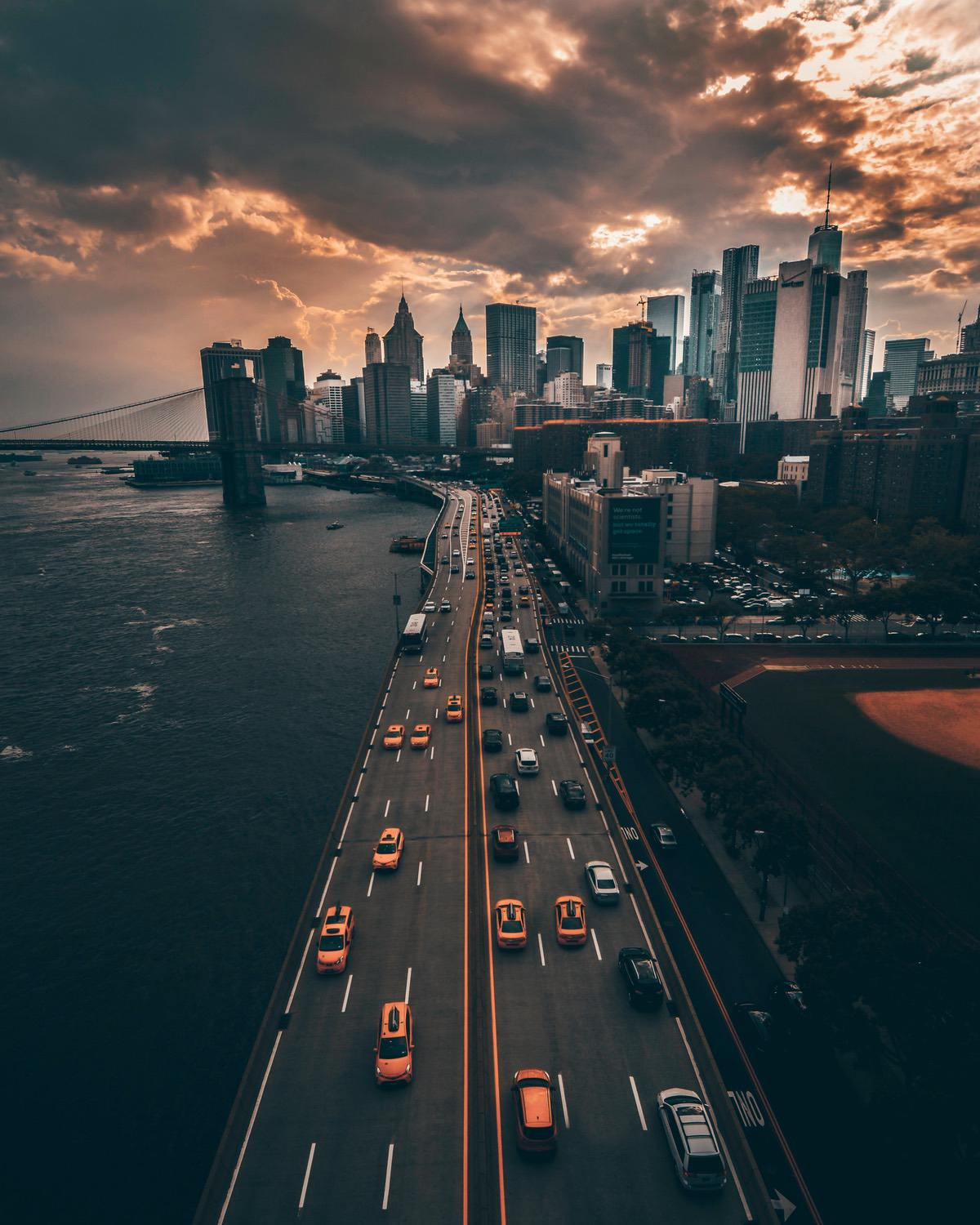 Aesthetic nigh time New York City wallpapers for iPhone with clouds