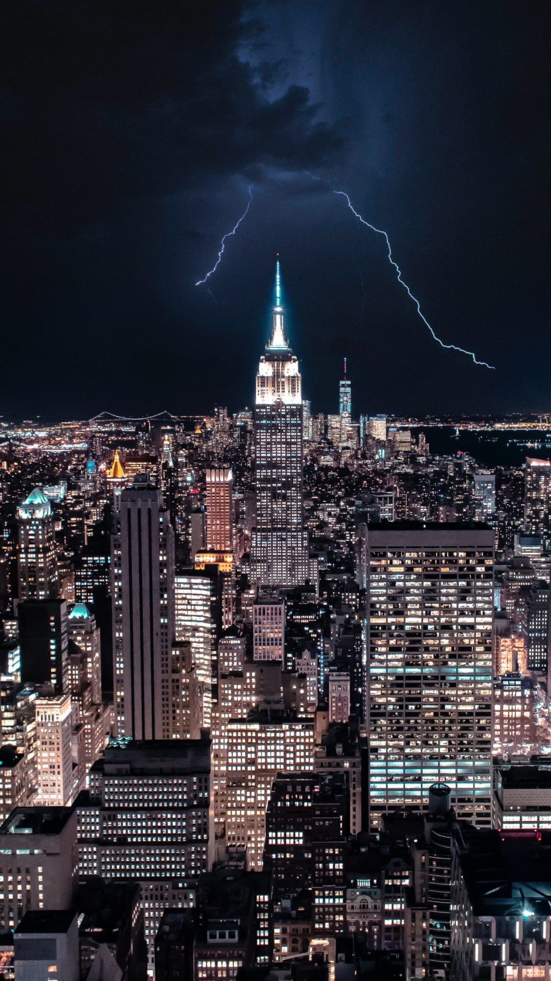 Empire state building with lightning