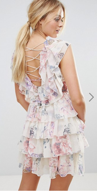 White floral dress with ruffles