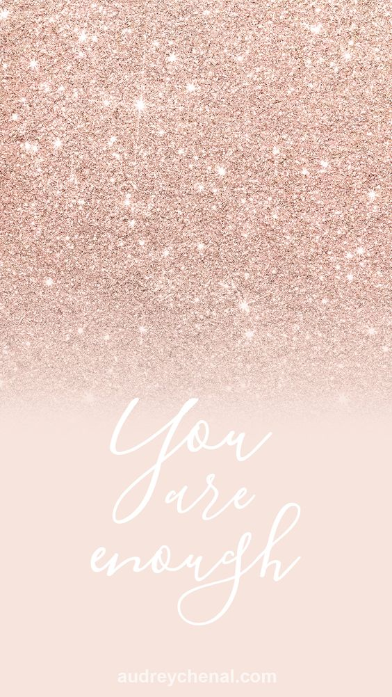 Rose gold quote wallpaper with glitter