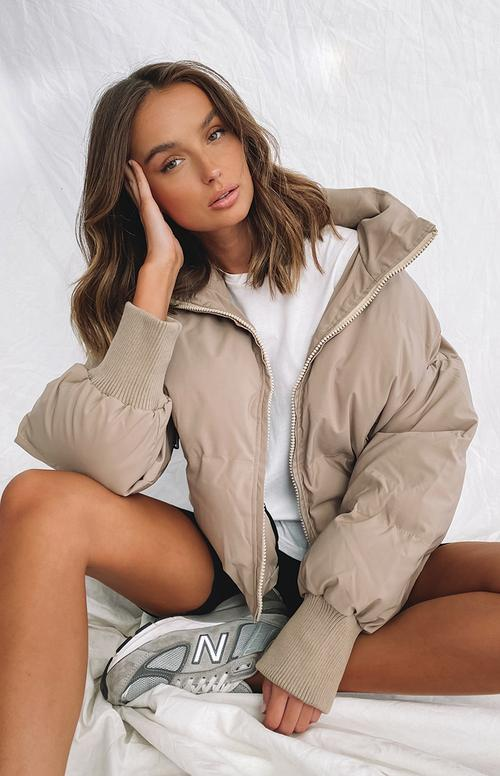Nude puffer jacket outfit