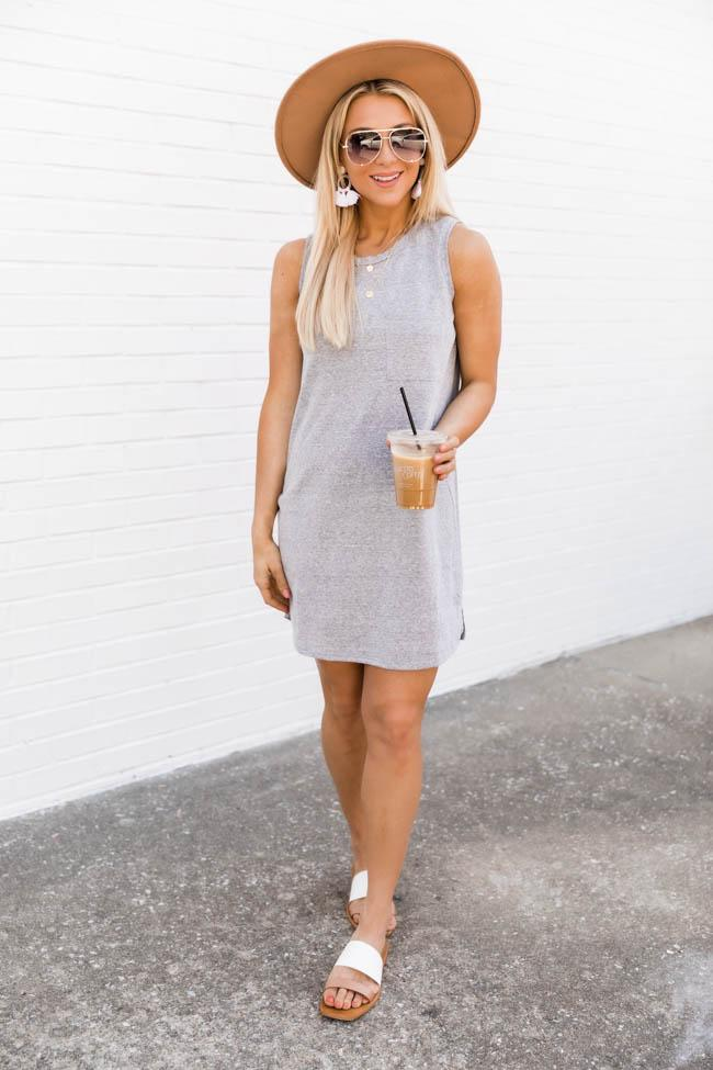 Casual grey dress spring outfit