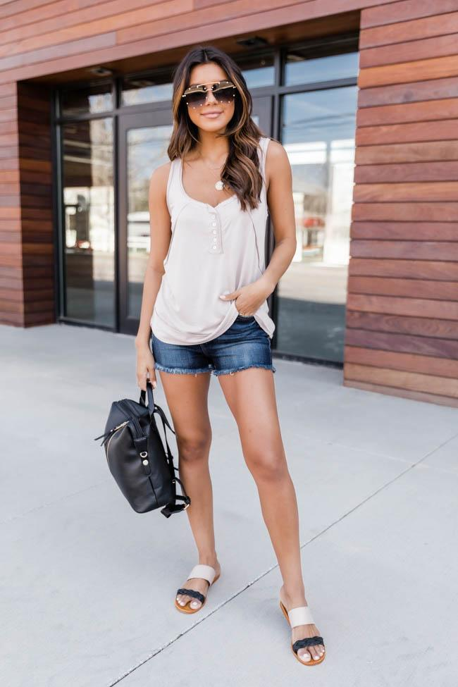 Beige tank top and shorts outfit