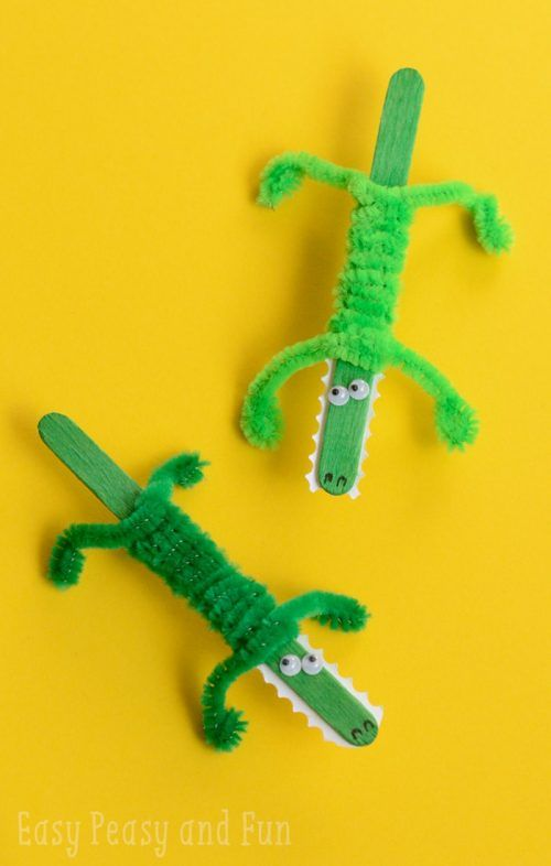 Easy popsicle stick crafts for kids: Crocodile Craft