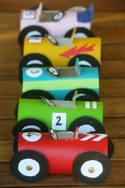 Toilet paper roll crafts for kids: Cardboard Tube Cars