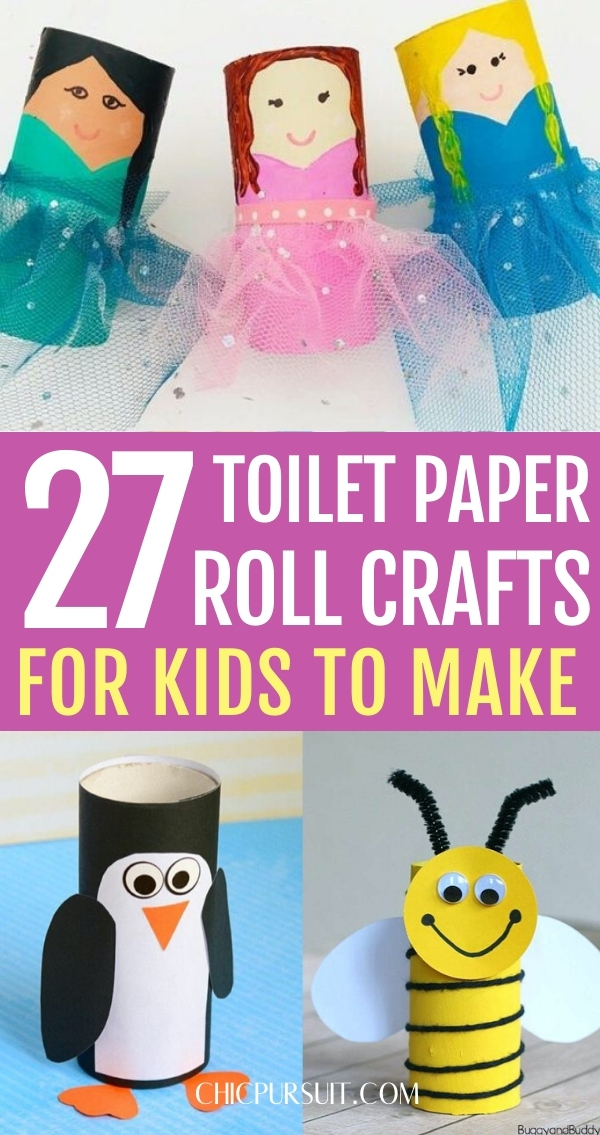 Easy toilet paper roll crafts for kids to make, including bee toilet paper roll crafts, penguin toilet paper roll crafts and princess toilet paper roll crafts