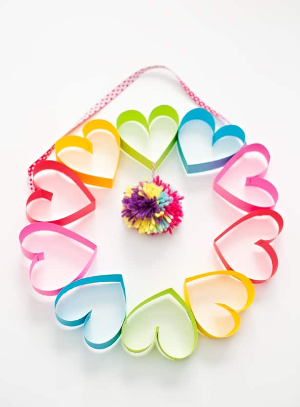 Easy Mother's Day Crafts For Kids: Rainbow Paper Heart Pom Pom Wreath