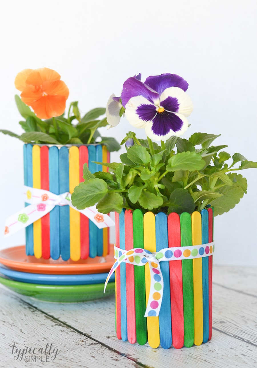 Easy Mother's Day Crafts For Kids: Craft Stick Flower Pots