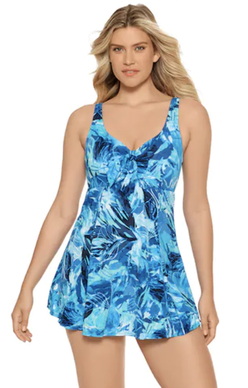 Blue tie dye swimsuits that cover stomach