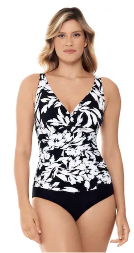Black and white swimsuits that hide belly pooch