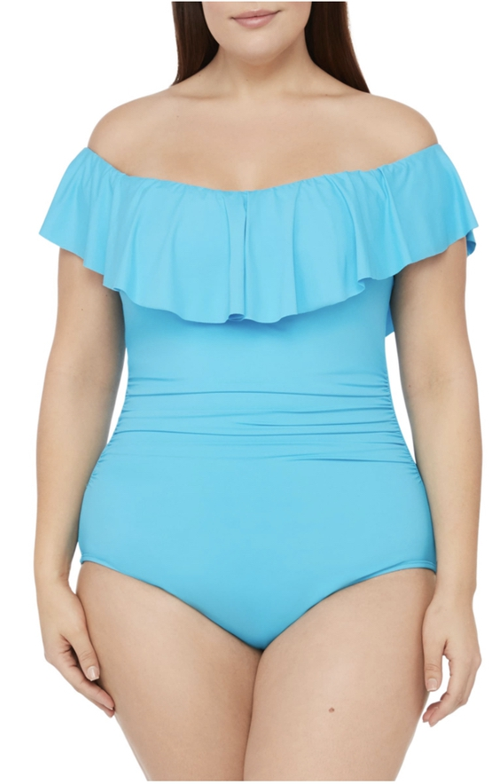Light blue swimsuits that cover stomach with ruffles