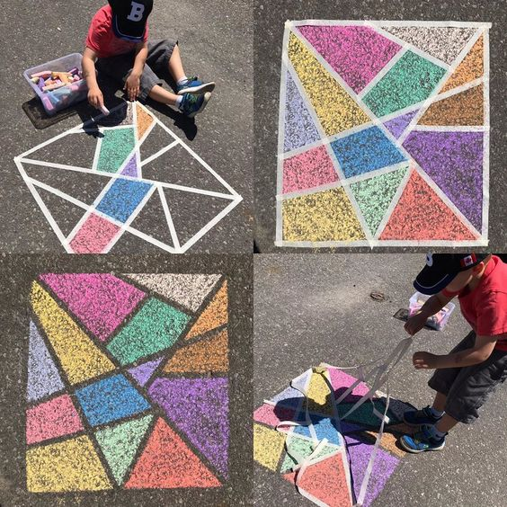 Easy sidewalk chalk art for adults and kids