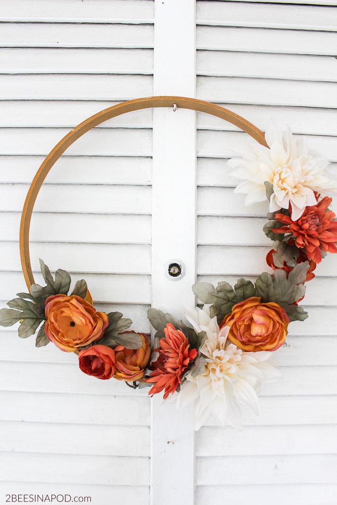 DIY Floral Embroidery Hoop Wreath