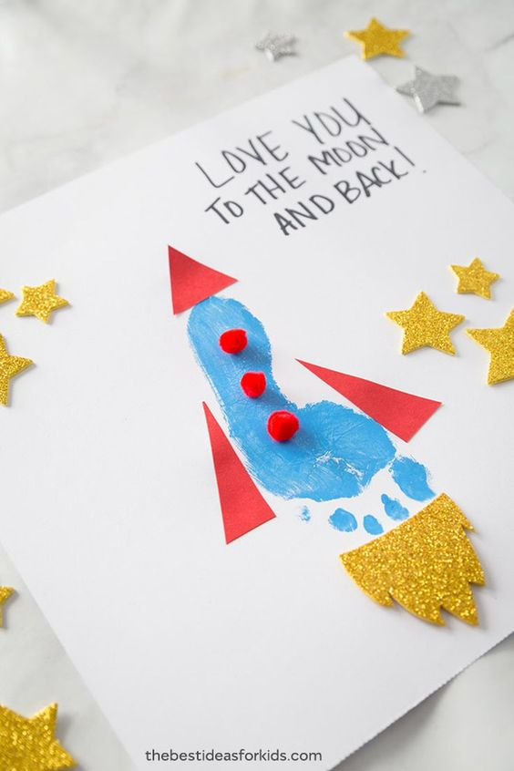 Easy Mother's Day Crafts For Kids: Footprint Rocket