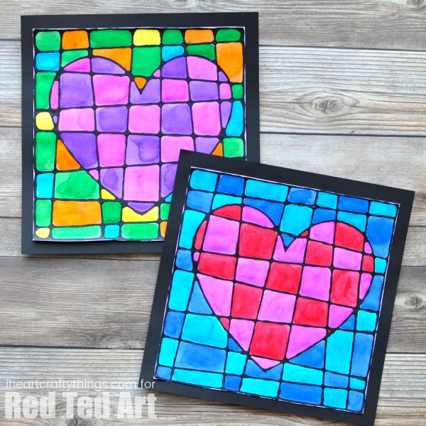 Easy Mother's Day Crafts For Kids: Black Glue Heart Art Project