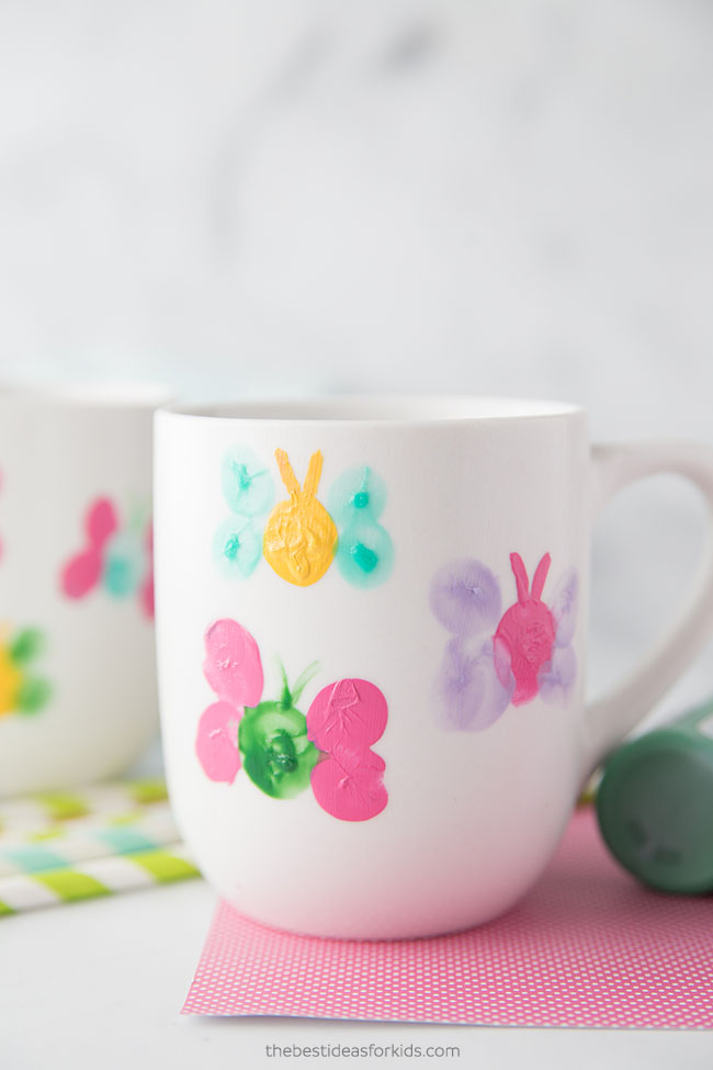 Easy Mother's Day Crafts For Kids: Fingerprint Butterfly Mug Painting