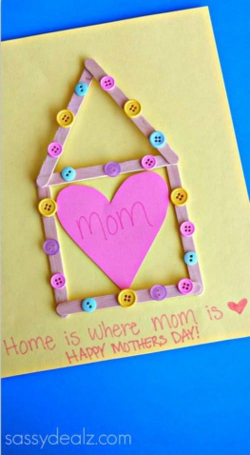 Mother's Day Crafts For Kids: Home Is Where Mom Is Card