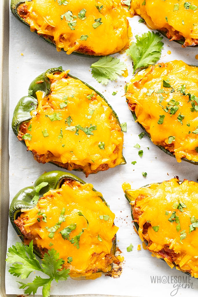 Cheese & Chicken Stuffed Poblano Peppers