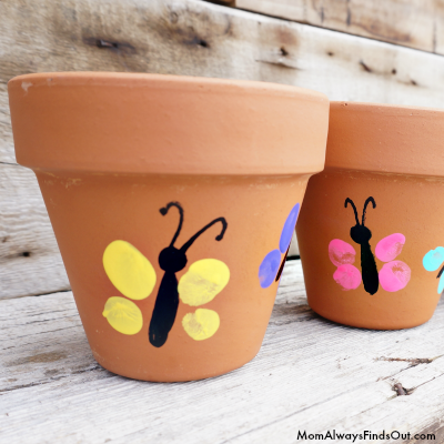 Easy Mother's Day Crafts For Kids: Thumbprint Art Flower Pot
