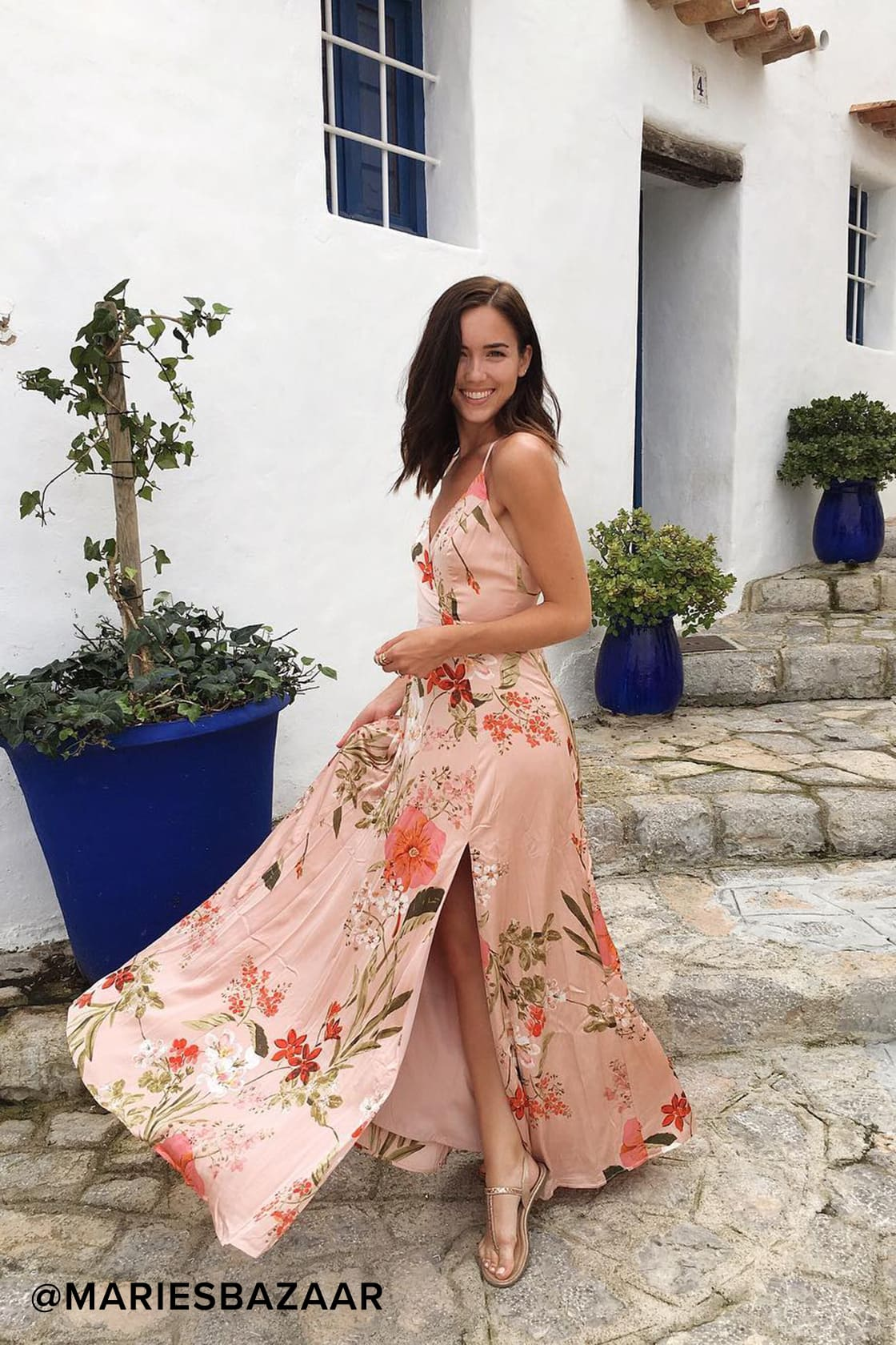 Cute blush maxi dress for weffing guest