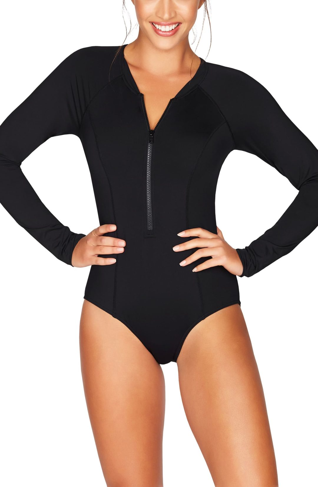 Black long sleeve one piece swimsuit that covers back acne and shoulders